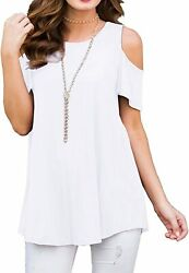 Prinstory Womenand039s Shorts Sleeve Casual Cold Shoulder Tunic Tops Loose Blouse Shi