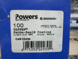 Powers 02430 Tapper 1/4 3-3/4 Hex Washer Head White Perma-seal Coated Screws