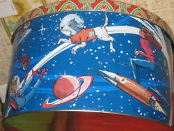 Big Russia Soviet Tin Box Case First Dog Space Belka And Strelka And Laika Very Rare