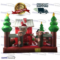16x15ft Commercial Inflatable Christmas Santa Claus Bounce House With Air Blower