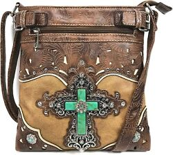 Large Turquoise Rhinestone Cross Women Western Conceal Carry Messenger Bag $34.89