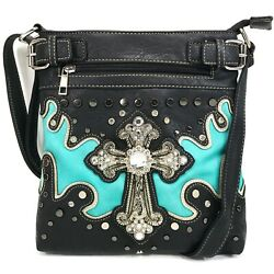 Crystal Rhinestone Cross Women Western Conceal Carry Black Messenger Bag $34.99