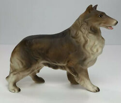 """Vintage Collie Dog Brown And White Porcelain Figurine Made In Japan 4"""""""