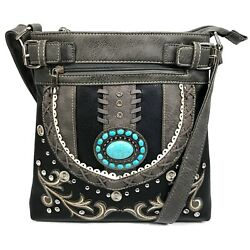 Western Turquoise Stone Concho Concealed Carry Crossbody Messenger Purse $38.99