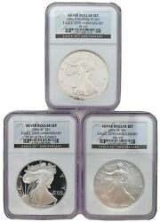 2006 Eagle 20th Anniversary Silver Dollar Set 3 Coins Pf69 Ultra Cameopf69ms