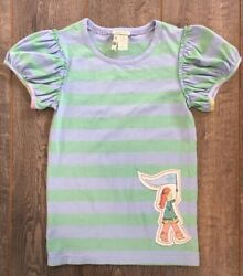 EUC Girls MATILDA JANE Green Blue Striped Tee Shirt With appliqué Size 10