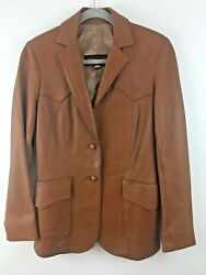 Womenand039s Brown Leather Jacket Made Exclusively For Phillips Cowboy Shop Sz 11/12