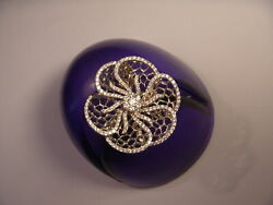 Magnificent 14k White Pink Rose Gold Filigree Diamond Floral Flower Beehive Ring