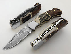 Damascus Steel Folding Pocket Knife 6.5 Stag Antler Handle With Leather Sheath