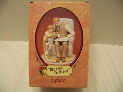 Enesco Signed Gg Santiago Treasured Memories Father And Son Reading To Daddy