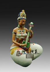 Chinese Ceramics Porcelain Dunhuang People Beauty Play The Pipa Ornament Statue