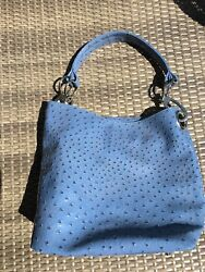 IZARO BLUE BLACK TOTE PURSE FAUX OSTRICH NWT New With Tag $15.95