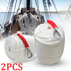 2pcs 3/4 X 200and039 Twisted Three Strand Dock Line Rope Cord Boat Anchor Mooring Us