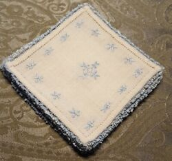 Vintage ♡ Set Of 8 Off White Linen Blue Embroidered Tatting Doilies 5.5 Square