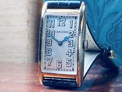 14k Solid Gold 1925 Concord Gentlemanandrsquos Wrist Watch Mint Dial Runs Well Offers