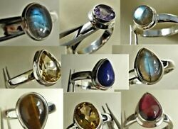 Natural Gemstone Sterling Silver Rings Wholesale Lot Tray Of 72 Varied Stones