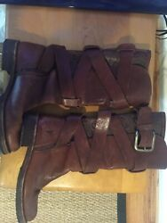 Rare Vintage Frye Leather Boots W Ornate Tooled Design 6.5 B