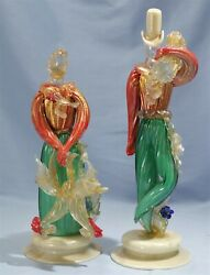Barovier Toso Art Deco Pair Glass Figures Woman Holding Chickens And Wood-chopper