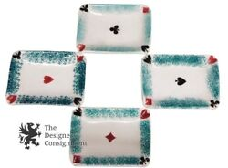 4 Porcelain Ashtrays Playing Game Cards Heart Spade Diamond Club Italy 4