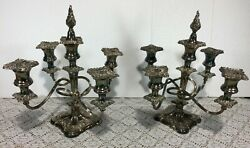 Antique E.g. Webster And Son 5 Arm Silver Plated Candelabra Set Of 2