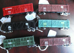 Lot Of 6 Different Atlas N Scale Stock Cattle Cars Sp Np Mp Gn Nyc Atsf