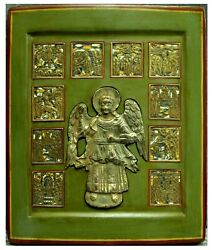 Antique 18-19c Russian Hand Painted Icon Chirst Saved Good Silence And In Life