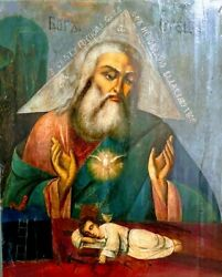Antique Hand Painted Russian Icon Of The God The Father САВАОФ