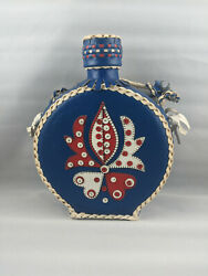 Vtg Handmade Leather Braided And Beaded Covered Glass Flask Canteen Red White Blue