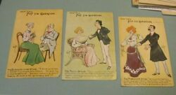 1905 How They Pop The Question 3 Postcard Lot Poetic Passionate Business Like