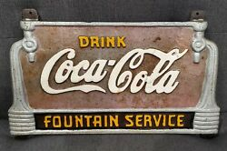 Vintage Drink Coca Cola Fountain Service Solid Cast Iron Sign