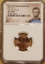 2019-w Ngc Us Mint Lincoln Memorial Cent Ms70 Rd 1st Day Of Issue Fdoi