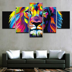 Abstract Colorful Rainbow Lion Animals Canvas Print Painting Wall Art Decor 5PCS