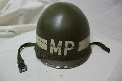 Original Us Military Issue Ww2 Wwii M1 Mp Helmet With Liner Military Police Rare