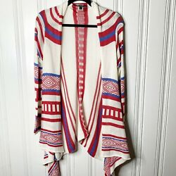 Love Stitch Size Large Womens Ivory Red Aztec Stripe Open Front Cardigan