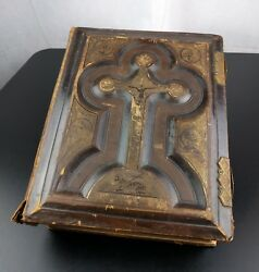 Catholic Family Holy Bible Leather Bound Embossed Church Clasp Genesis Prop