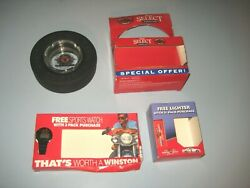 3 Vintage Winston Advertising Premiums Tire Ashtray Bowling Sport Watch Lighter