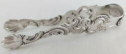 Antique Victorian Fraget Warszawie Galw Silver Sugar Tongs W/shell Ends 1860-90