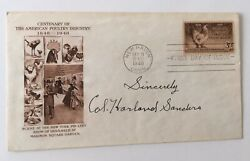 Colonel Harlan Sanders Signed Autographed First Day Cover Full Jsa Letter Kfc