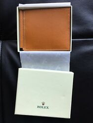 New In Box Superb Rolex Wallet Credit Card Holder Money Clip Leather Tan Color