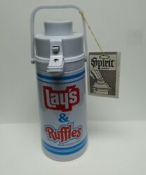 Vintage Layand039s And Ruffles Potato Chips Promotional 1970and039s Thermos Dispenser Pump