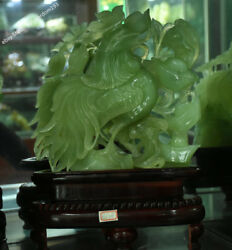 15 Chinese Natural Green Jade Jadeite Carved Wealth Yuanbao Rooster Cock Statue