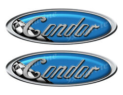 Two Condor Vinyl Racing Oval Stickers 10 Long Each