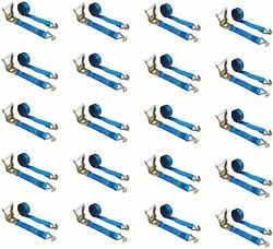 20 Pack 2 X 30' Ratchet Tie Down Strap W/ J Wire Hook For Flatbed Truck Trailer