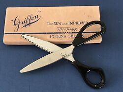 Vintage Griffon Tru-pink Pinking Shears Scissors In Original Box Ny Usa Made