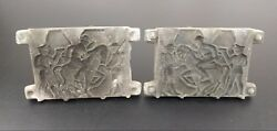 Vtg Lead Soldier Mold Casting Wwi Horse Handles Toy Hobby Collectible Antique