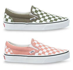 Classic Slip-on Checkerboard Sneakers - Pink Or Grape - Womens Shoes - Bnib