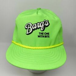 Vtg Barqs Root Beer The One With Bite Hat Bright Green Coke Soda Advertisement
