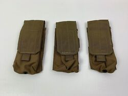 New Lot Of 3 Ea. Usmc Single Double Mag Pouch Coyote Molle Nsn 8465-01-516-8370