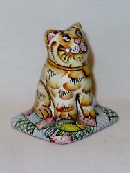 Cat Ceramic Pottery Figurine Handmade Hand Painted Made in Russia