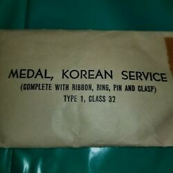 Korean War Service Medal And Ribbon Vintage Unopened Government Issued Usa
